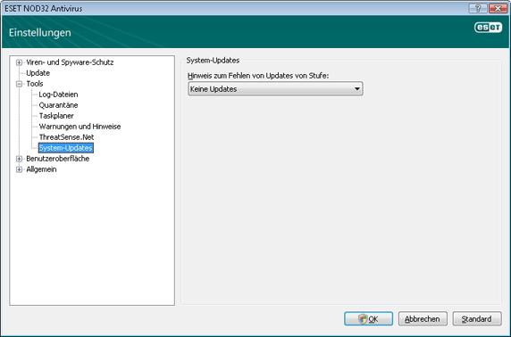 Nod32 ea config windows update Update des Betriebssystems – Einstellungen