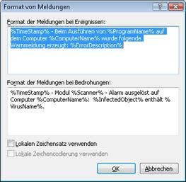 Nod32 ea format notice Format von Meldungen