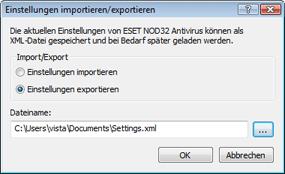 Nod32 ea importexport config Einstellungen importieren/exportieren