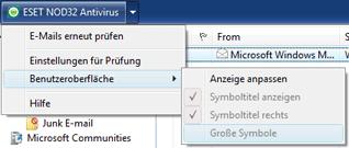 Nod32 ea oe toolbar Symbolleisten von Outlook Express und Windows Mail