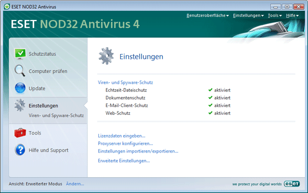 Nod32 ea page advanced settings Übersicht zur Benutzeroberfläche