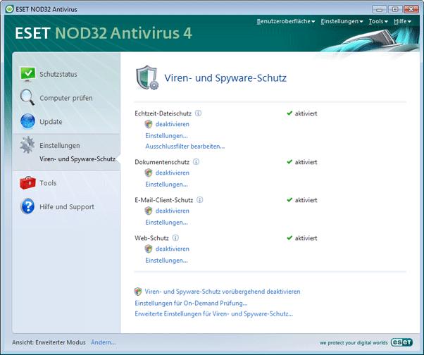 Nod32 ea page settings antivirus Einstellungen – Erweiterter Modus