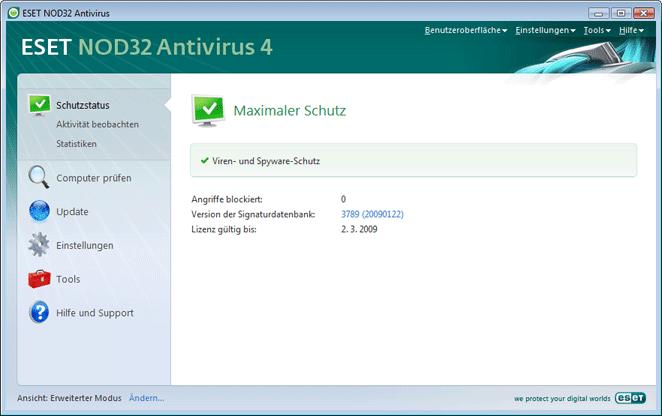 Nod32 ea page status Schutzstatus