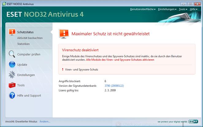 Nod32 ea page status 02 Vorgehensweise bei fehlerhafter Ausführung des Programms