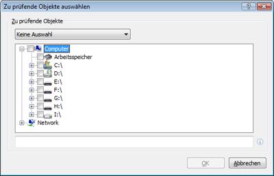 Nod32 ea profile target Zu prüfende Objekte auswählen