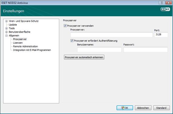 Nod32 ea proxy server Einstellungen Proxyserver