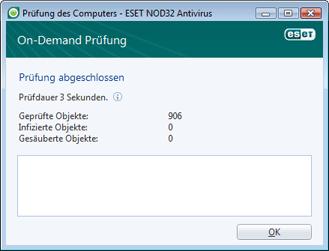 Nod32 ea scan finishwindow Prüfung erfolgreich abgeschlossen