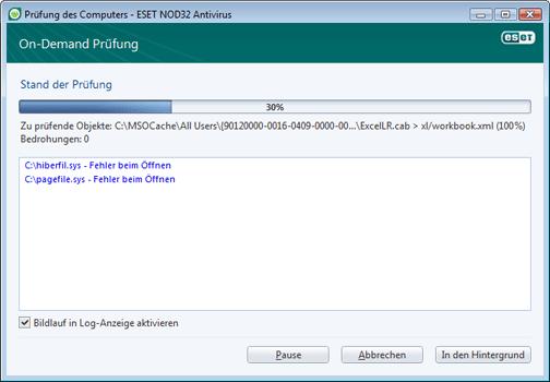 Nod32 ea scan window Prüfen des Computers – Fenster