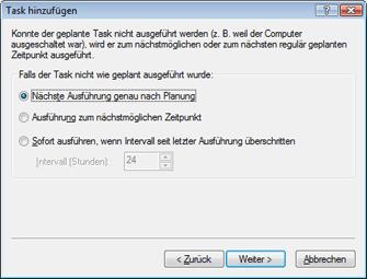 Nod32 ea scheduler notstart Task hinzufügen – Falls Task nicht ausgeführt wurde