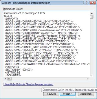 Nod32 ea support detect Bestätigung der Datenübermittlung