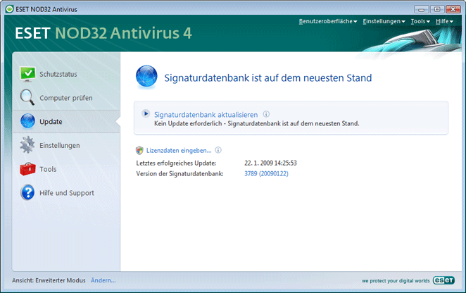Nod32 ea update main Einstellungen für Updates