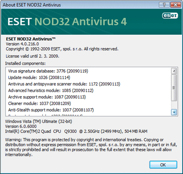 Nod32 ea about About ESET NOD32 Antivirus