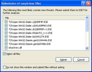Nod32 ea charon confirm Submission of suspicious files