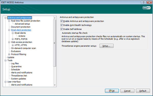 Nod32 ea config antivirus Antivirus and antispyware protection   Setup