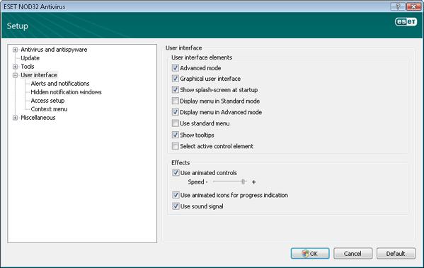 Nod32 ea config environment User interface