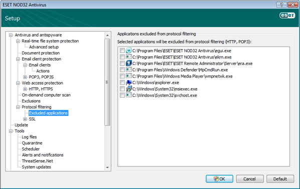 Nod32 ea config epfw content scan exclude Excluded applications