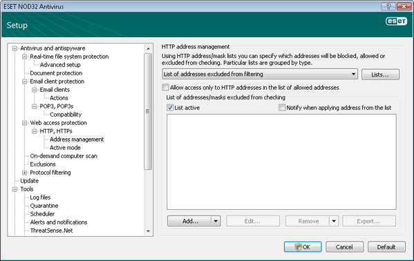 Nod32 ea config epfw scan http excludelist HTTP address management