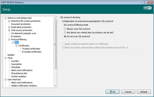 Nod32 ea config epfw ssl SSL