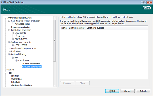 Nod32 ea config epfw ssl exclude Excluded certificates