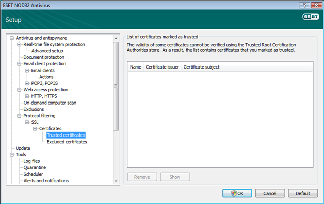 Nod32 ea config epfw ssl trusted Trusted certificates