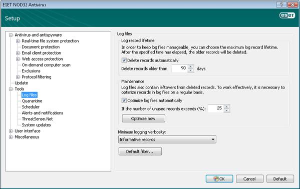 Nod32 ea config logs Log files
