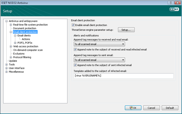 Nod32 ea config mail Email client protection