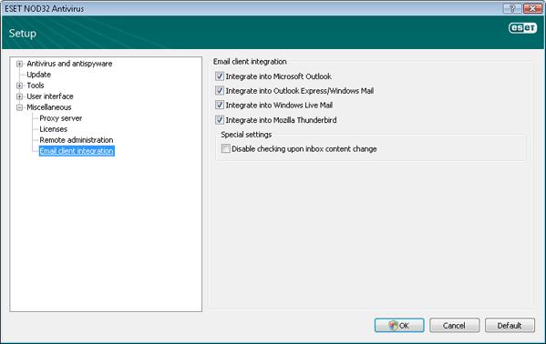 Nod32 ea config mailplugins Email client integration