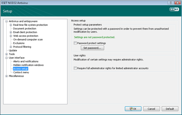 Nod32 ea config password Settings protection