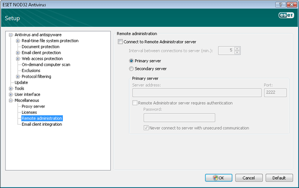 Nod32 ea config ra Remote Administration
