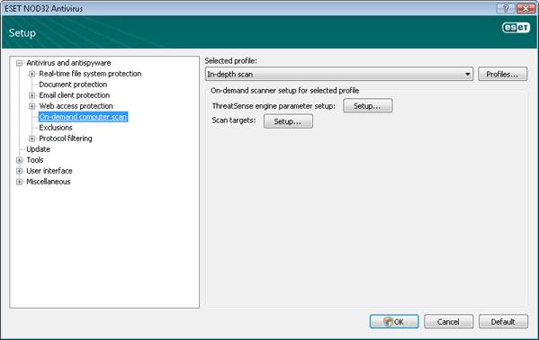 Nod32 ea config scan On demand computer scan