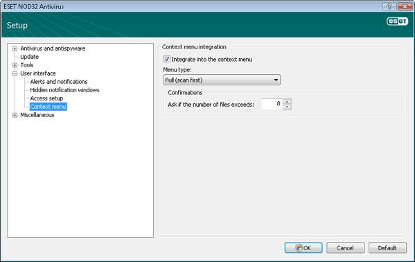 Nod32 ea config shellext Context menu