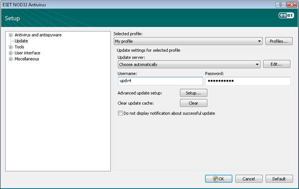 Nod32 ea config update source Update setup