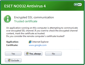 Nod32 ea dialog epfw new certificate Encrypted SSL communication
