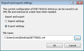 Nod32 ea importexport config Import and export settings