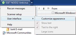 Nod32 ea oe toolbar Outlook Express and Windows Mail toolbar