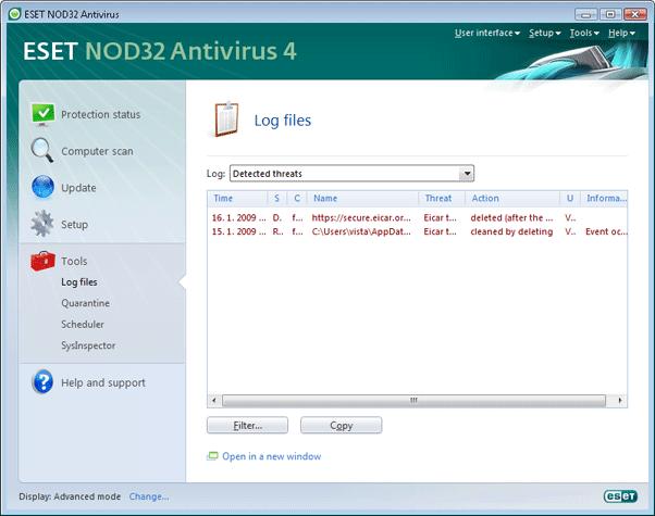 Nod32 ea page logs Log files