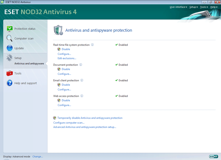 Nod32 ea page settings antivirus Setup   Advanced mode