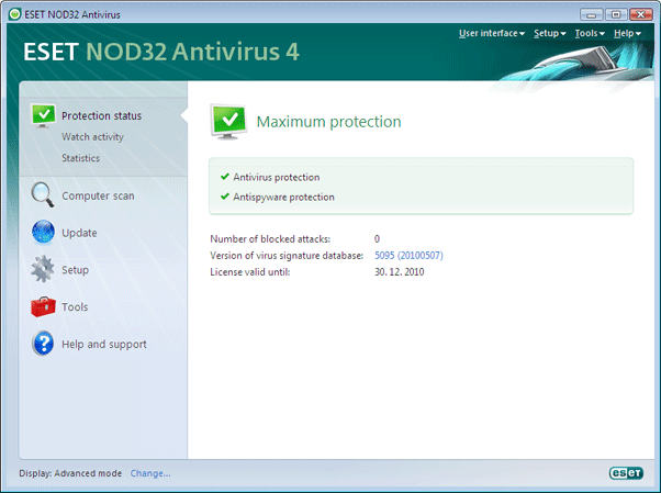 Nod32 ea page status Protection status