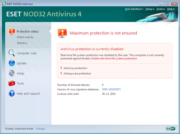 Nod32 ea page status 02 Protection status
