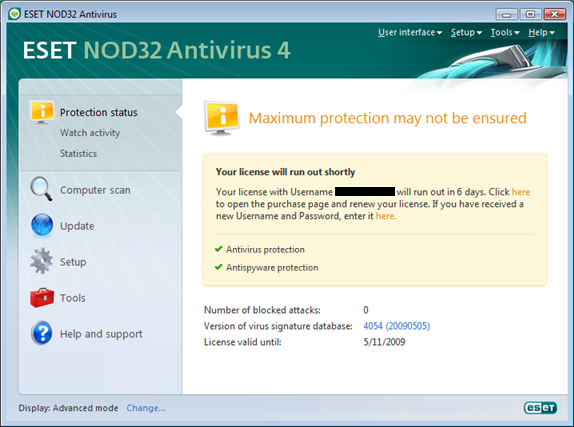 Nod32 ea page status 03 Protection status