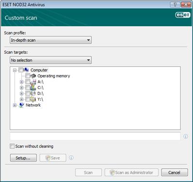 Nod32 ea profile target Select scan targets