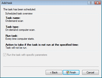 Nod32 ea scheduler finish Add task   finish