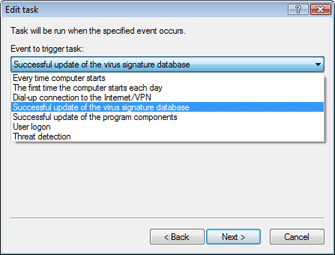 Nod32 ea scheduler task Creating new tasks
