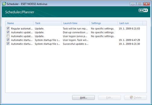 Nod32 ea scheduler window Scheduler   new window