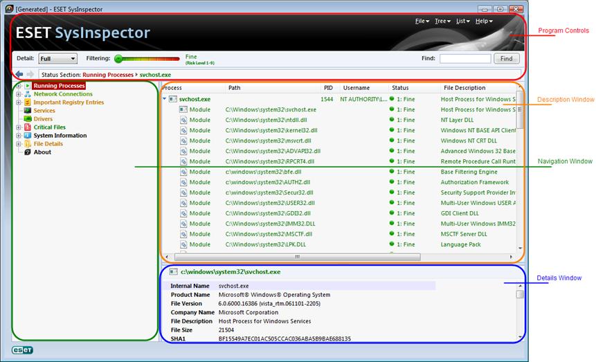 Nod32 sinsp usage User Interface and application usage