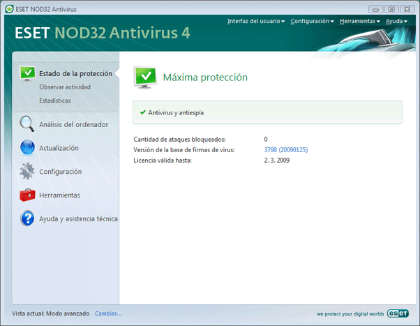 Nod32 ea advanced mode Modo avanzado