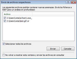 Nod32 ea charon confirm Envío de archivos sospechosos