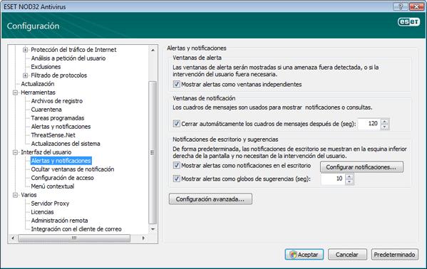 Nod32 ea config alert Alertas y notificaciones