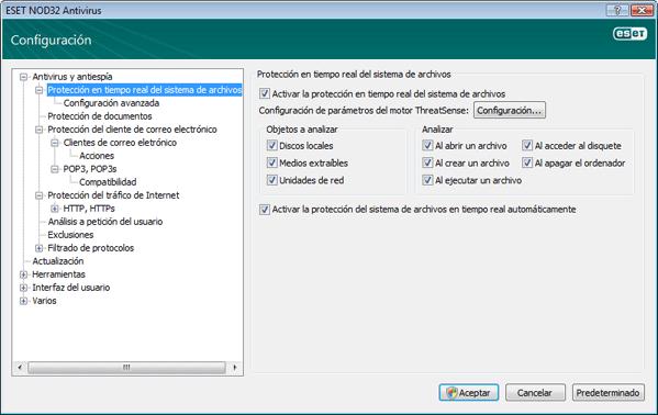 Nod32 ea config amon ¿Qué debo hacer si la protección en tiempo real no funciona?
