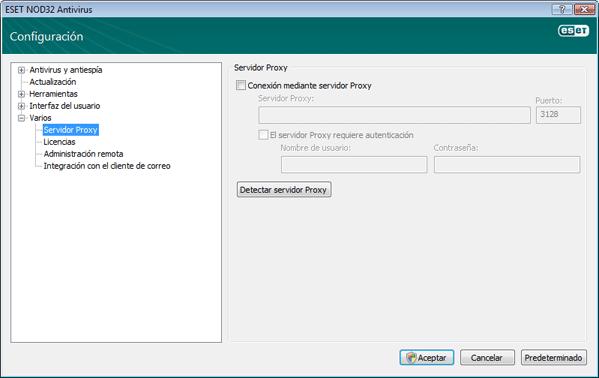 Nod32 ea config connection Servidor Proxy